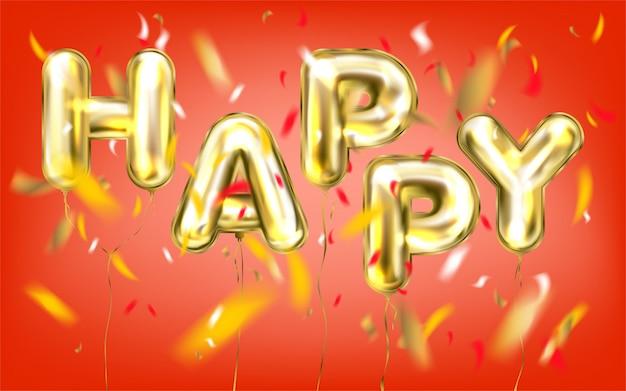 Glückliche beschriftung durch goldene folienballone in den roten konfettis