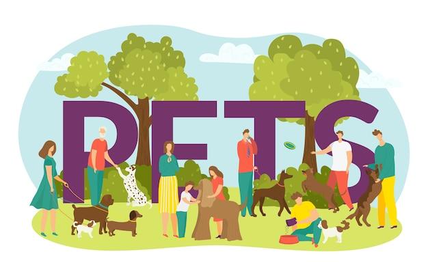 Glückliche besitzer mit hunden, niedlichen welpen haustiere und schriftzug haustiere illustration. mann und frau gehen mit hund draußen im park, kinder mit haustierfreund in der sommerzeit.