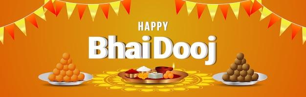 Glückliche bhai dooj festivalfeierkarte oder -fahne mit puja thali