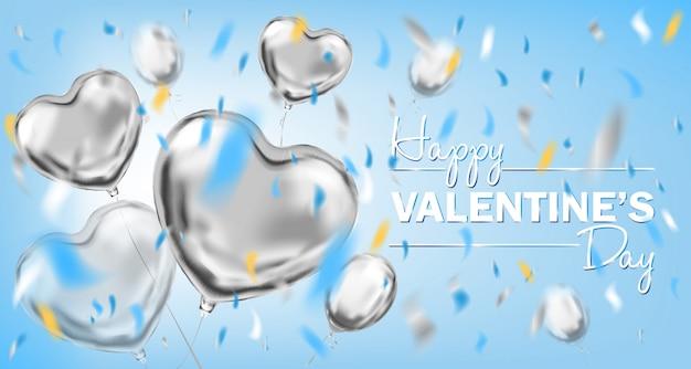 Glückliche blaue karte des valentinsgruß-tageshimmels mit metallischen herzformballonen