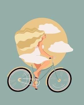 Glückliche blonde frau im weißen kleid fährt auf einem fahrrad