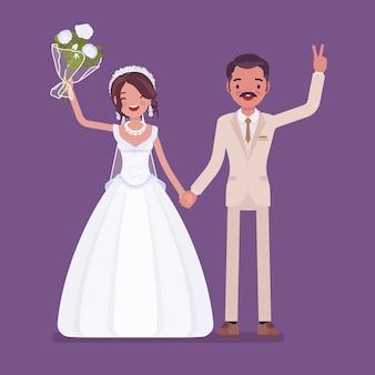 Glückliche braut und bräutigam auf hochzeitszeremonie