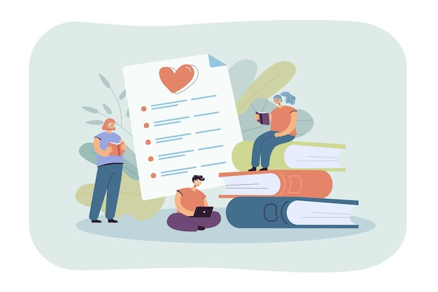 Glückliche buchleser, die bücher flache illustration bewerten. zeichentrickfiguren, die lehrbücher lesen und eine topliste erstellen