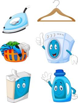 Glückliche cartoon wäscherei