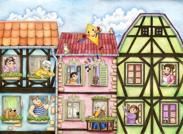 Glückliche cartoonnachbarn in den fensterrahmen der mehrfamilienhäuser