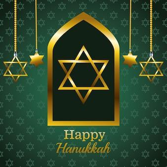 Glückliche chanukka-feierkarte mit hängenden goldenen sternen