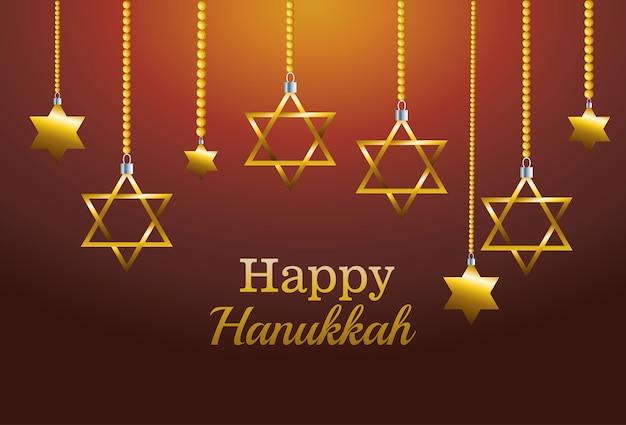 Glückliche chanukka-feierkarte mit hängenden sternen