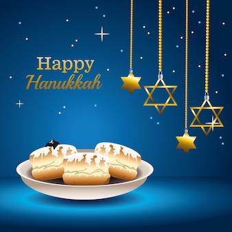 Glückliche chanukka-festkarte mit essen und hängenden sternen
