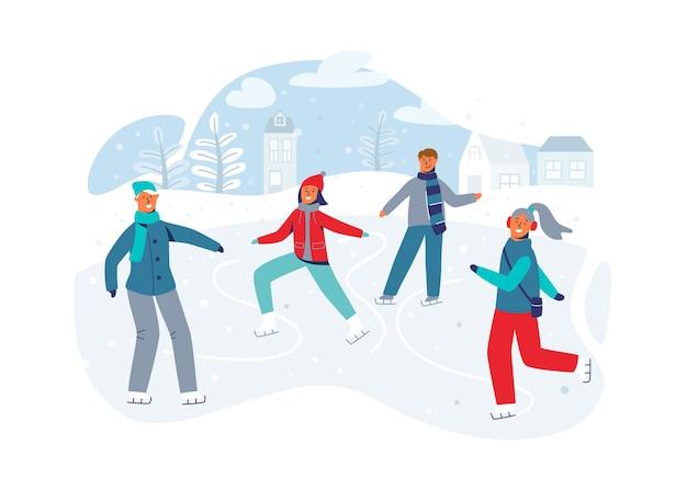 Glückliche charaktere, die auf eisbahn laufen. wintersaison menschen eisläufer. fröhlicher mann und frau in der winterkleidung auf der verschneiten landschaft.