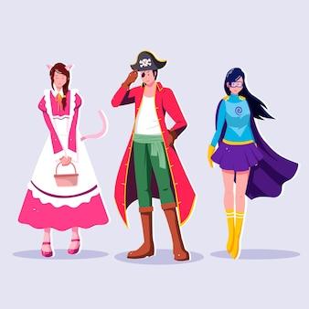 Glückliche charaktere, die karnevalskostüme tragen