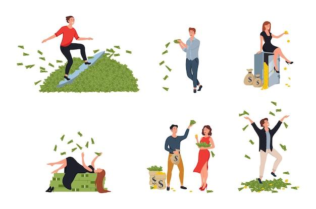 Glückliche charaktere mann und frau millionär. finanzieller erfolg, lottogewinn, vermögen, glückskonzept.
