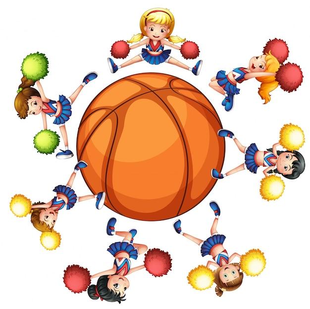 Glückliche cheerleader um basketball