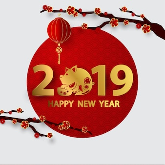 Glückliche chinesische fahne des neuen jahres 2019