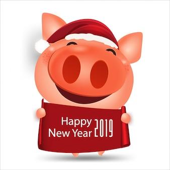 Glückliche chinesische lokalisierte elemente der schweinkarikatur des neuen jahres 2019