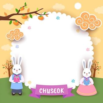 Glückliche chuseok-blumenrahmen-häschengrußkarte