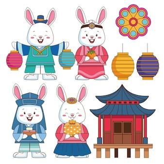 Glückliche chuseok-feier mit bündel von satzikonen