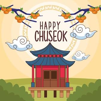Glückliche chuseok-feier mit chinesischem gebäude in der landschaft