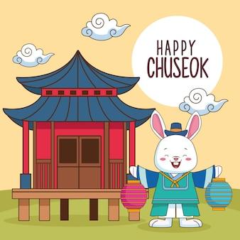 Glückliche chuseok-feier mit chinesischem gebäude und kaninchen