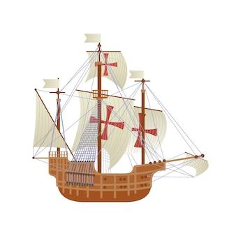 Glückliche columbus day national usa-feiertags-gruß-karte mit dem schiff lokalisiert auf weißem hintergrund