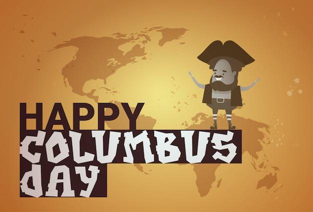 Glückliche columbus day national usa-feiertags-gruß-karten-fahne