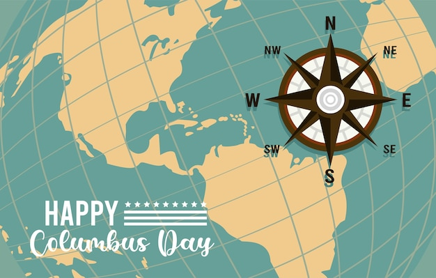 Glückliche columbus-tagesfeier mit kompassführer und amerikanischem kontinent.