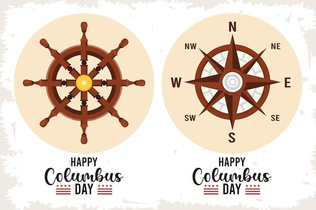 Glückliche columbus-tagesfeier mit schiffsruder und kompassführer