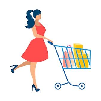 Glückliche dame auf kaufender flacher vektor-illustration