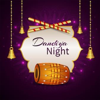Glückliche dandiya-nachtfeier-grußkarte