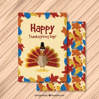 Glückliche danksagungs-karte mit einem truthahn und blätter