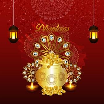 Glückliche dhanteras-einladungs-grußkarte mit goldmünzentopf