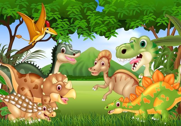 Glückliche dinosaurier der karikatur, die im dschungel leben