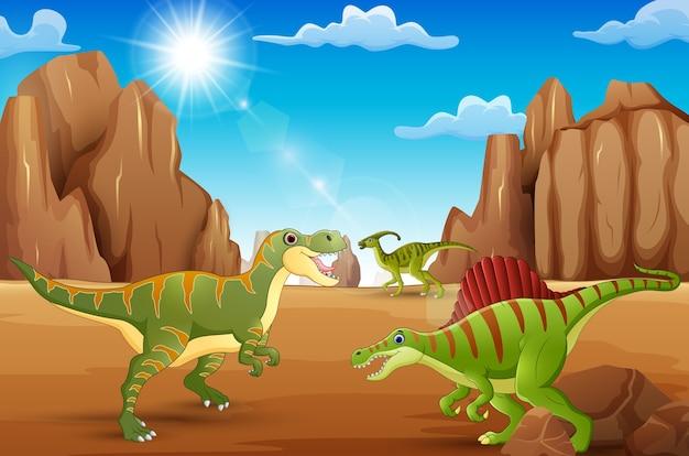 Glückliche dinosaurier der karikatur, die in der wüste leben