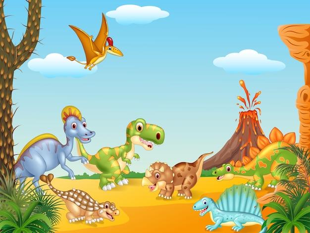 Glückliche dinosaurier der karikatur mit vulkan
