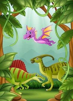 Glückliche dinosaurier, die im dschungel leben