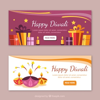 Glückliche diwali banner mit geschenken und kerzen