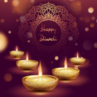 Glückliche diwali diya öllampenschablone. indisches deepavali hindu festival der lichter.