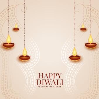 Glückliche diwali elegante festivalgrußkarte mit diya entwurf