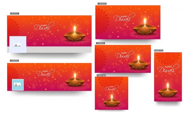Glückliche diwali-fahnenschablone stellte mit belichteter öllampe (diya) auf orange ein