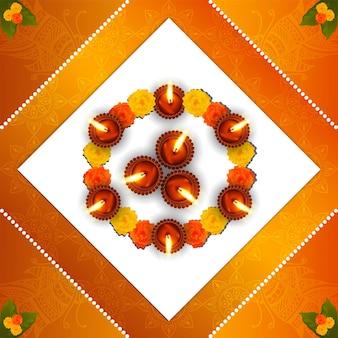 Glückliche diwali-feier-grußkarte. diwali das fest des lichts