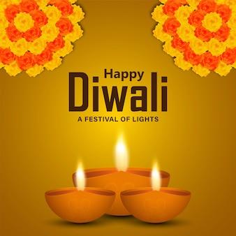 Glückliche diwali-feier-grußkarte mit diwali-diya