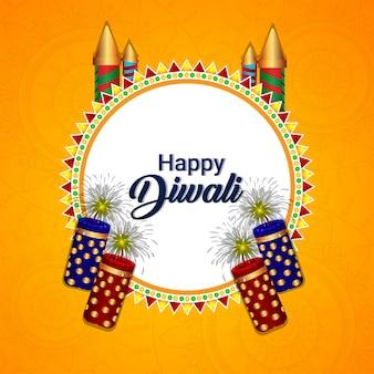 Glückliche diwali-feier-grußkarte mit diwali-elementen auf kreativem hintergrund