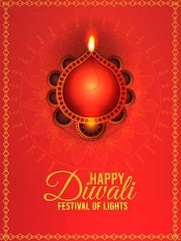 Glückliche diwali-feier-grußkarte mit diwali-öllampe