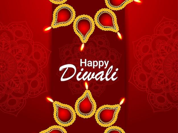 Glückliche diwali-feier-grußkarte mit kreativer vektorillustration