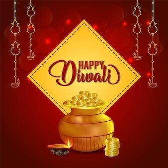 Glückliche diwali-feier-grußkarte mit münztopf
