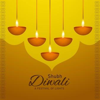 Glückliche diwali-feier-grußkarte mit realistischem diwali-diya