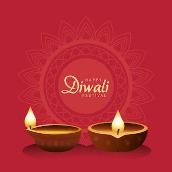 Glückliche diwali-feier mit zwei kerzen aus holz im roten hintergrund