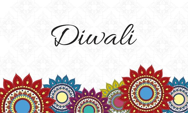 Glückliche diwali-feierbeschriftung mit mandalas-dekorationsgrenze