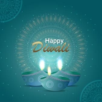 Glückliche diwali-feiereinladungs-grußkarte