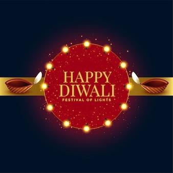 Glückliche diwali feierfestivalkarte mit zwei diya