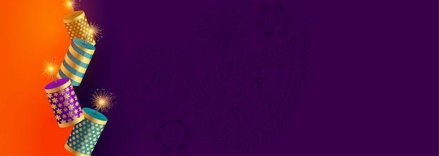 Glückliche diwali festival-crackerfahne mit textraum
